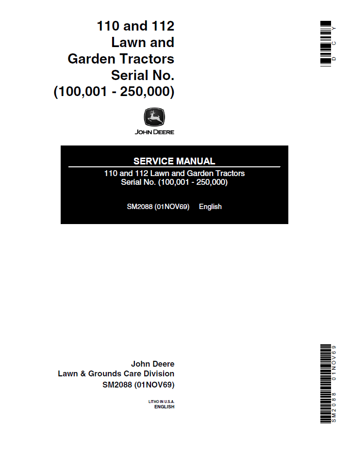 John Deere 110 & 112 Lawn Garden Tractors Service Manual PDF