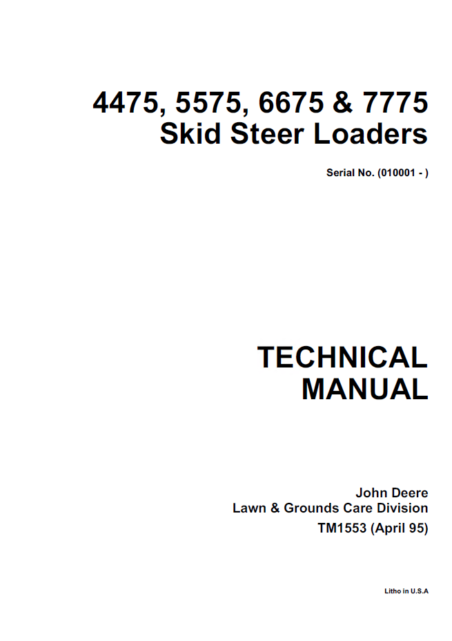 John Deere 4475 5575 6675 7775 Skid Steer Loaders PDF