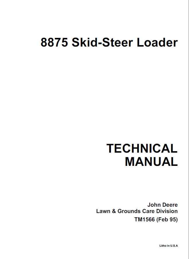 John Deere 8875 Skid Steer Loader Technical Manual PDF