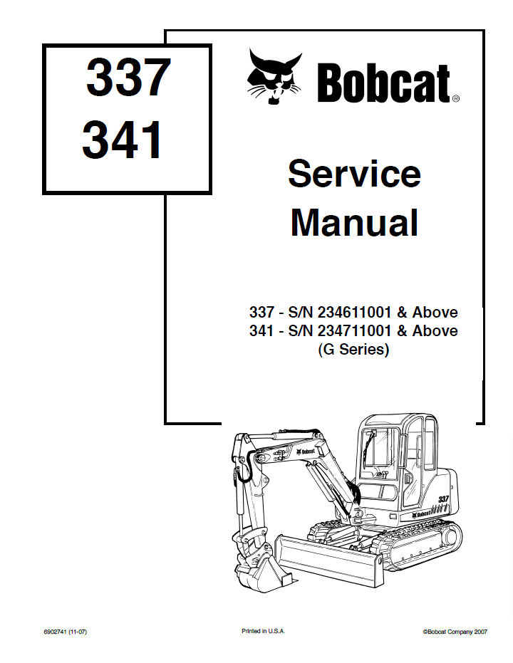 Bobcat 337, 341 Excavators G Series Service Manual PDF