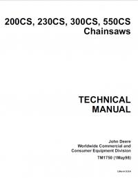 John Deere 200CS 230CS 300CS 550CS Chainsaws TM1750