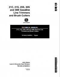 John Deere 21C 21S 25S 30S 38B TM1494 Technical Manual