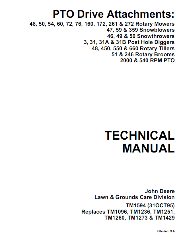 John Deere PTO Drive Attachments TM1594 PDF Manual