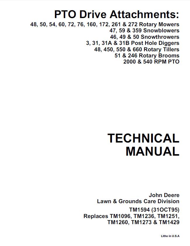 John Deere PTO Drive Attachments TM1594 PDF Manual