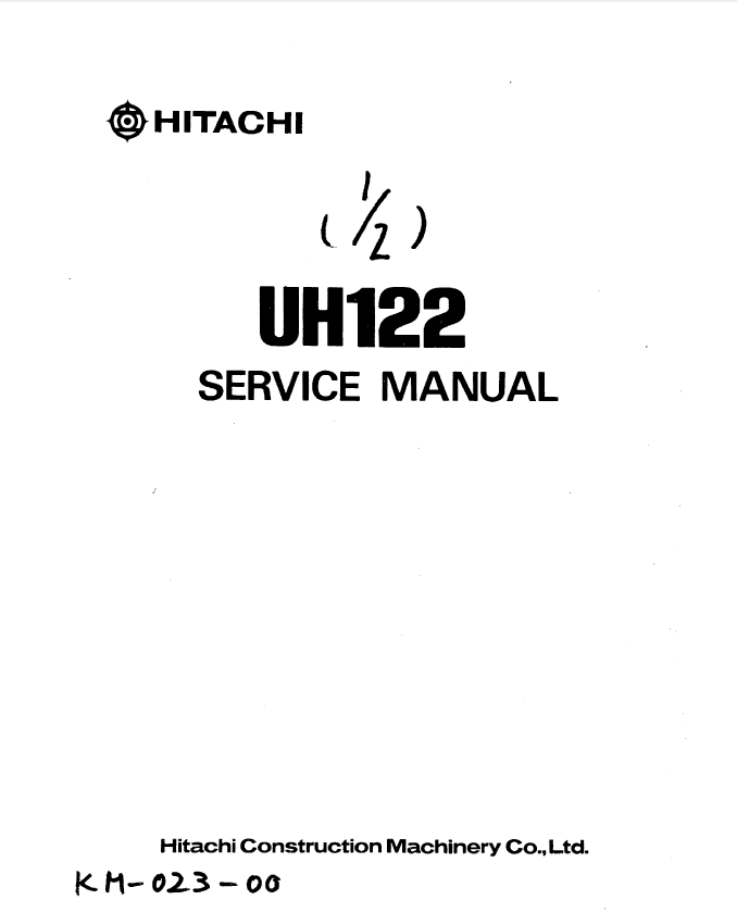 Hitachi UH122 Excavator Service Manual PDF