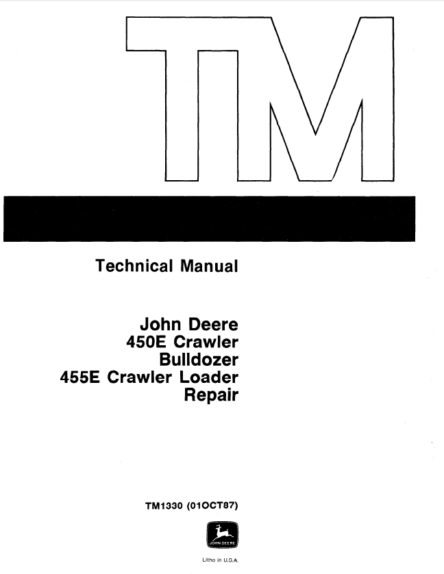 John Deere 450E, 455E Repair TM1330 Technical Manual PDF