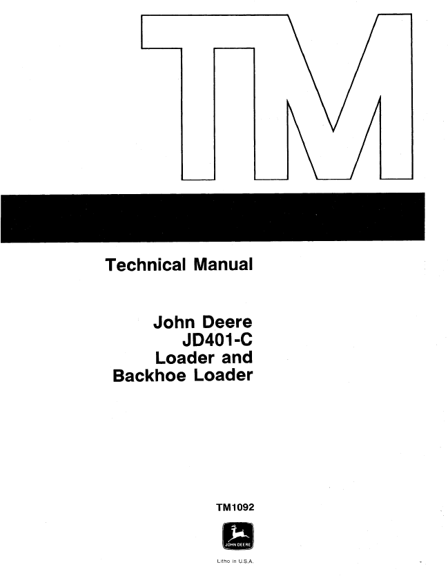 John Deere JD401-C Loader Backhoe Loader TM1092 PDF