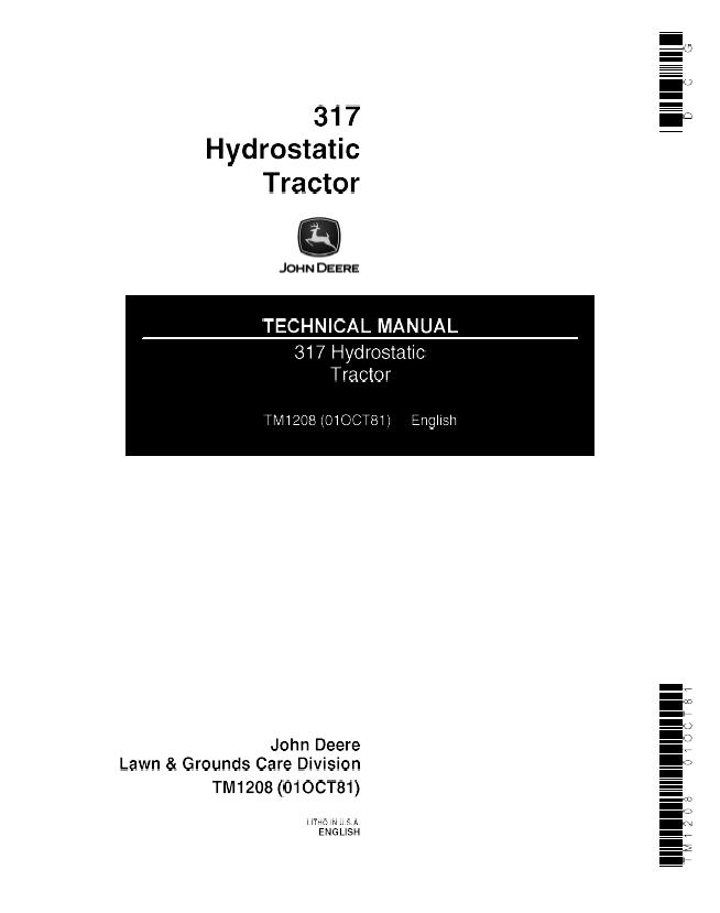 john deere 317 tractor wiring diagram gy6 electric choke hydrostatic tm1208 technical manual repair pdf
