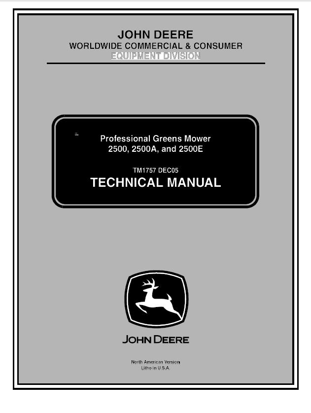 John Deere 2500 2500A 2500E Professional Greens Mower