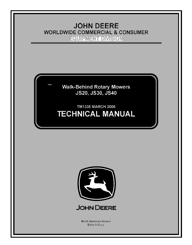 John Deere JS20 JS30 JS40 Walk-Behind Rotary Mowers PDF