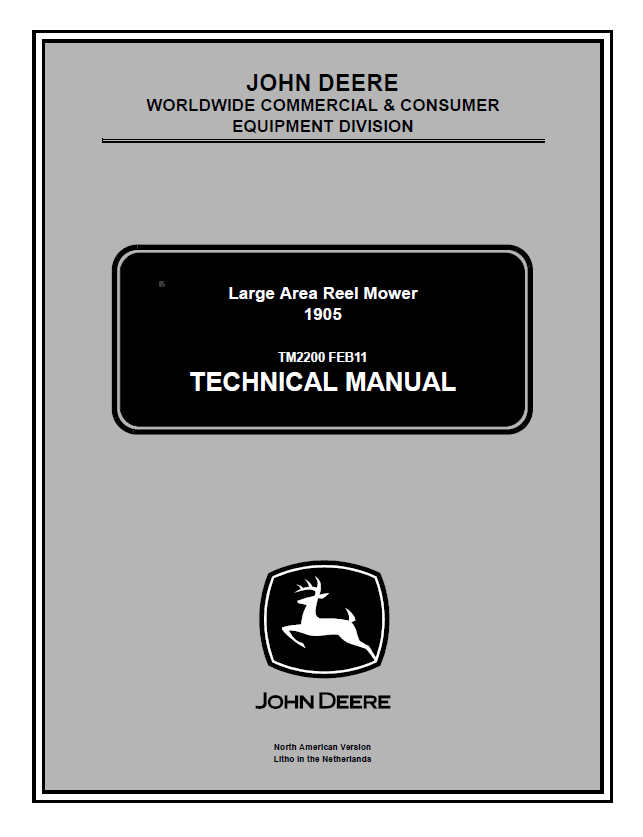 John Deere 1905 Area Reel Mower TM2200 Technical Manual