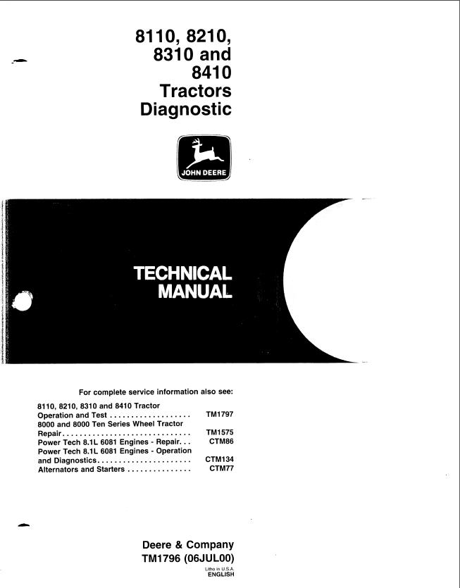 John Deere 8110 8210 8310 8410 Tractors Diagnostic TM1796