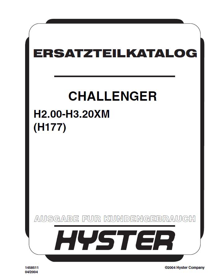 Hyster Challenger (H177) H2.00-H3.20XM Forklift PDF Manual