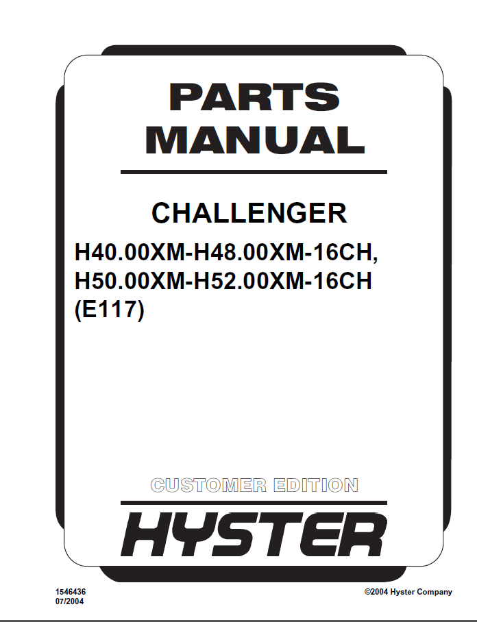 Hyster Challenger (E117) PDF Parts Manual