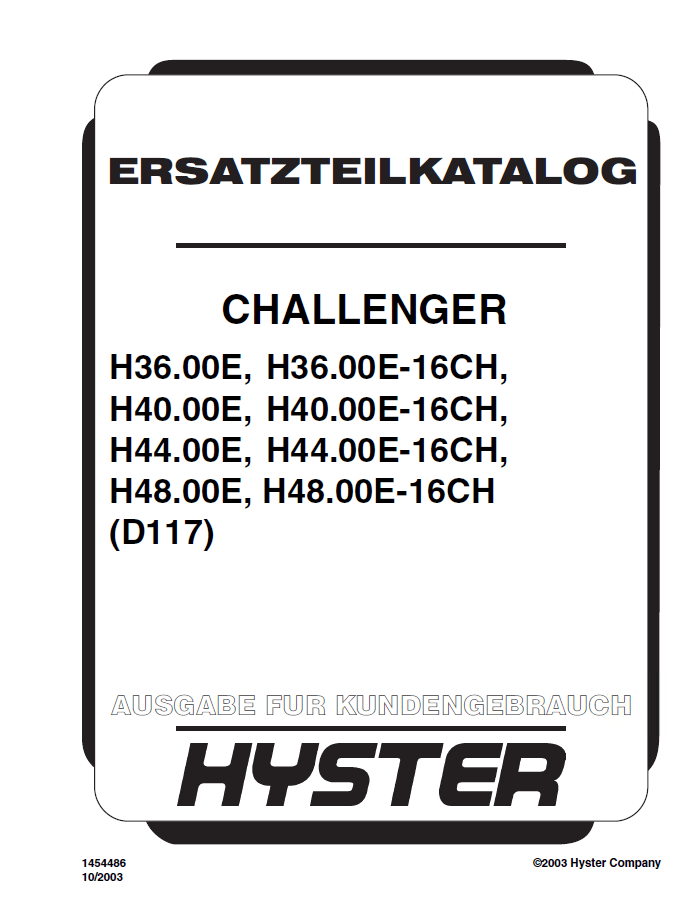 Hyster Challenger (D117) Forklift PDF Parts Manual GR only
