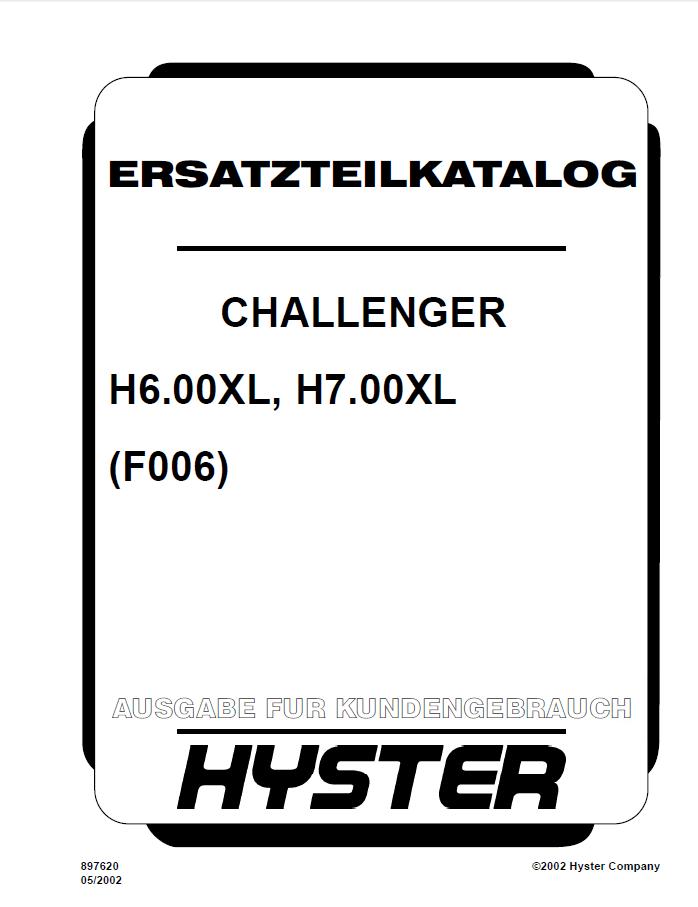 Hyster Challenger (F006) H6.00XL H7.00XL Parts Manual PDF