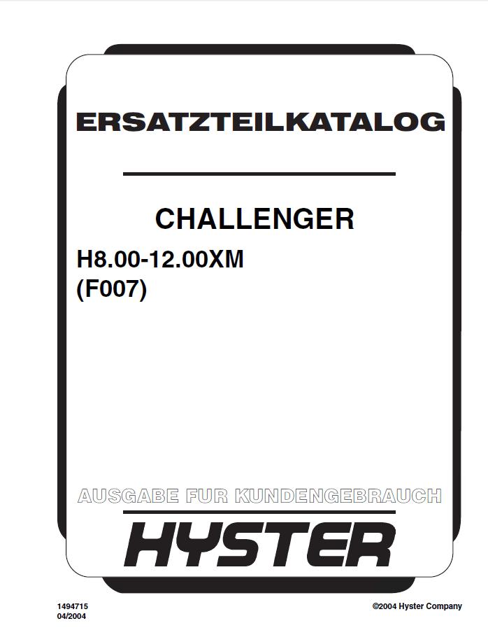 Hyster Challenger (F007) H8.00-12.00XM Forklift PDF Manual