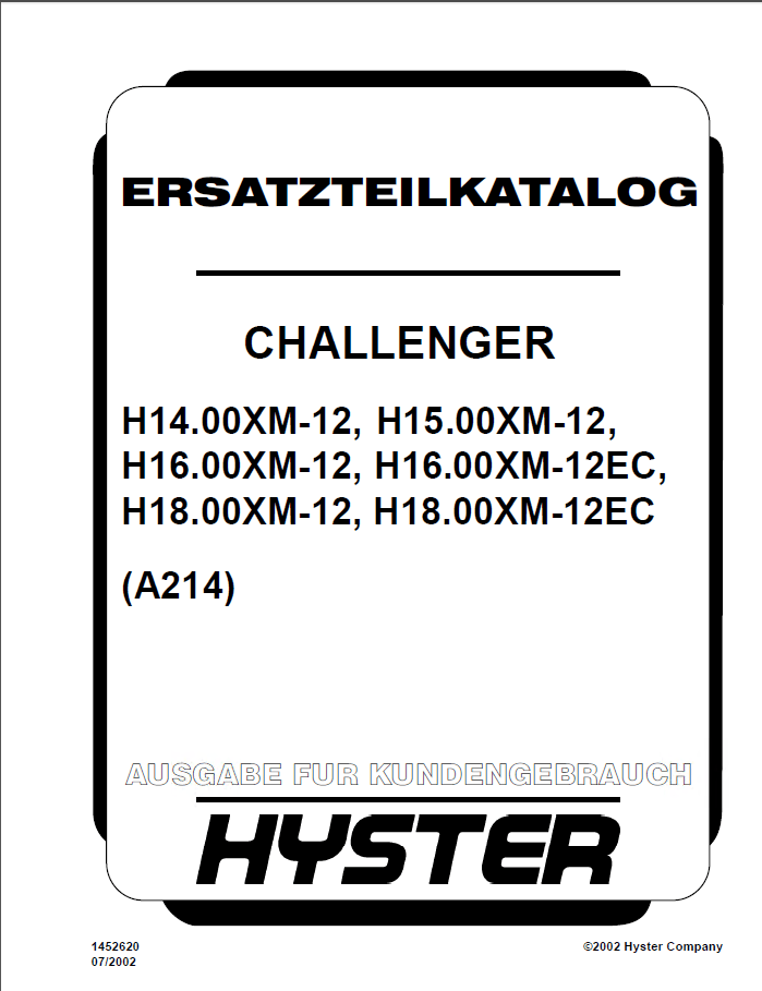 Hyster Challenger (A214) Forklift PDF Parts Manual GR only