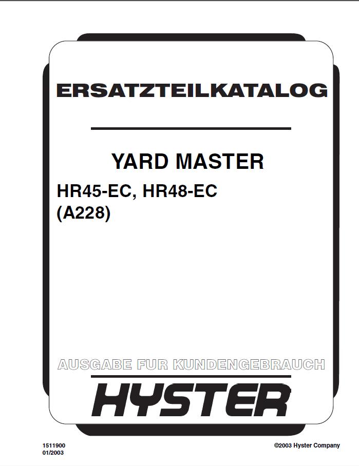 Hyster Yardmaster (A228) HR45/R48-EC PDF Parts Manual