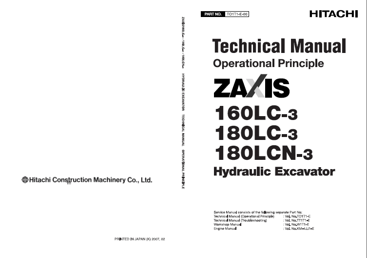 Hitachi Zaxis 160LC/180LC-3 Excavator Technical Manuals PDF