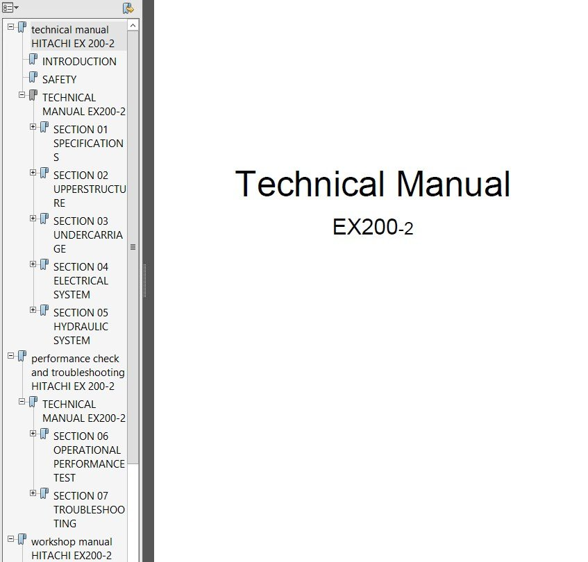 Hitachi EX200-2 Excavator Technical Workshop Manual PDF