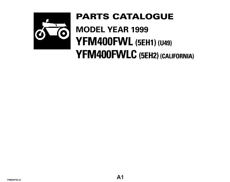 Yamaha YFM400FWL & YFM400FWLC 1999 Parts Catalogue PDF