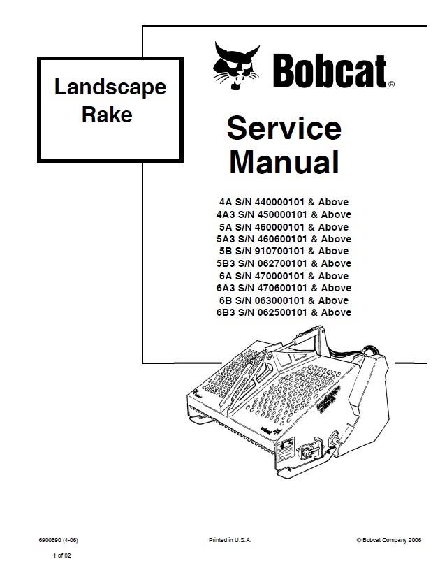 Bobcat 4A, 5A, 6A Landscape Rake Service Manual PDF