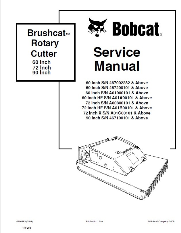 Bobcat 60/72/90 Inch Brushcat Rotary Cutter Service Manual