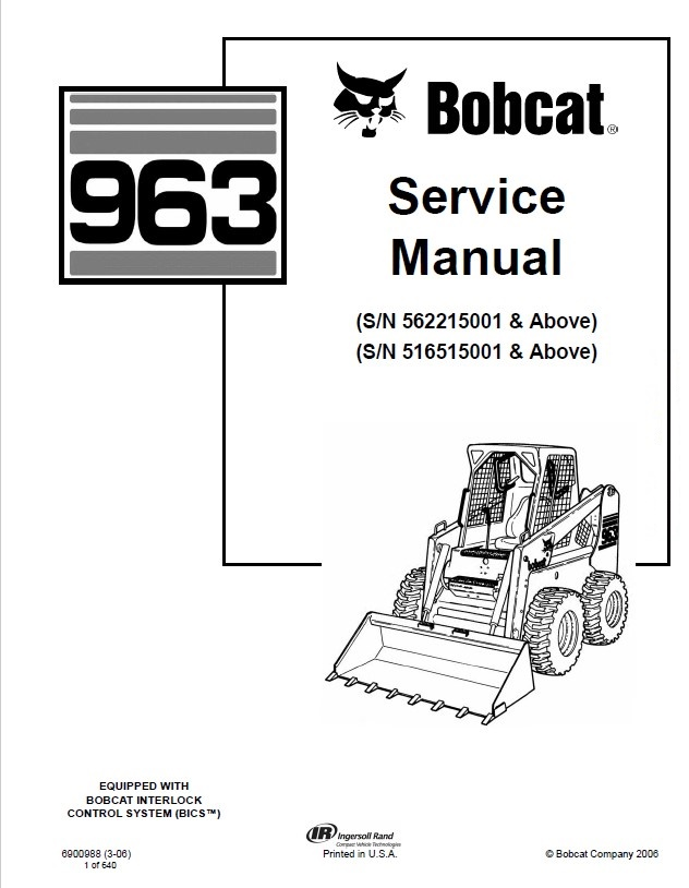 Bobcat 963 Loader Service Manual PDF