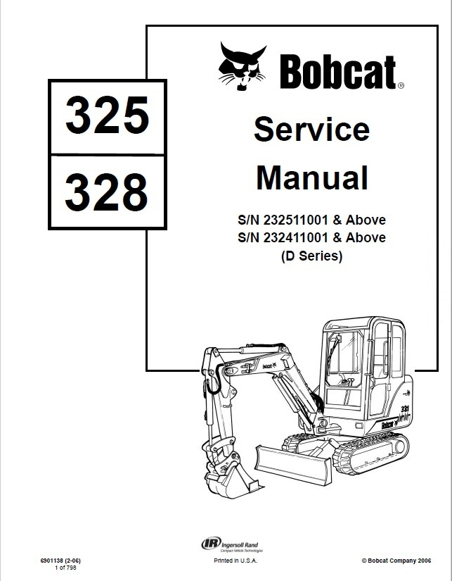 Bobcat 325, 328 Excavator D Series Service Manual PDF