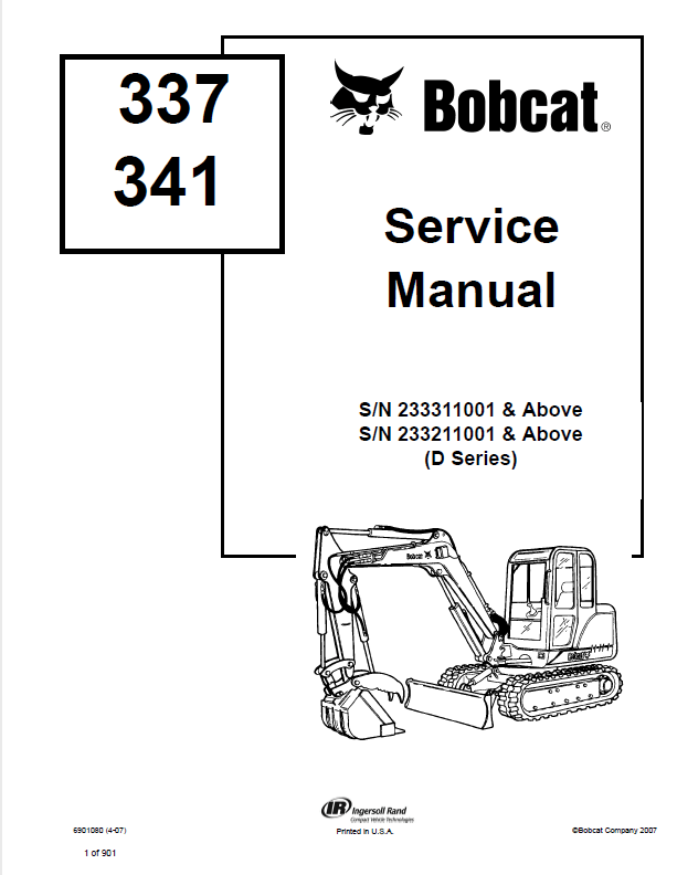 Bobcat 337, 341 Excavator D Series Service Manual PDF