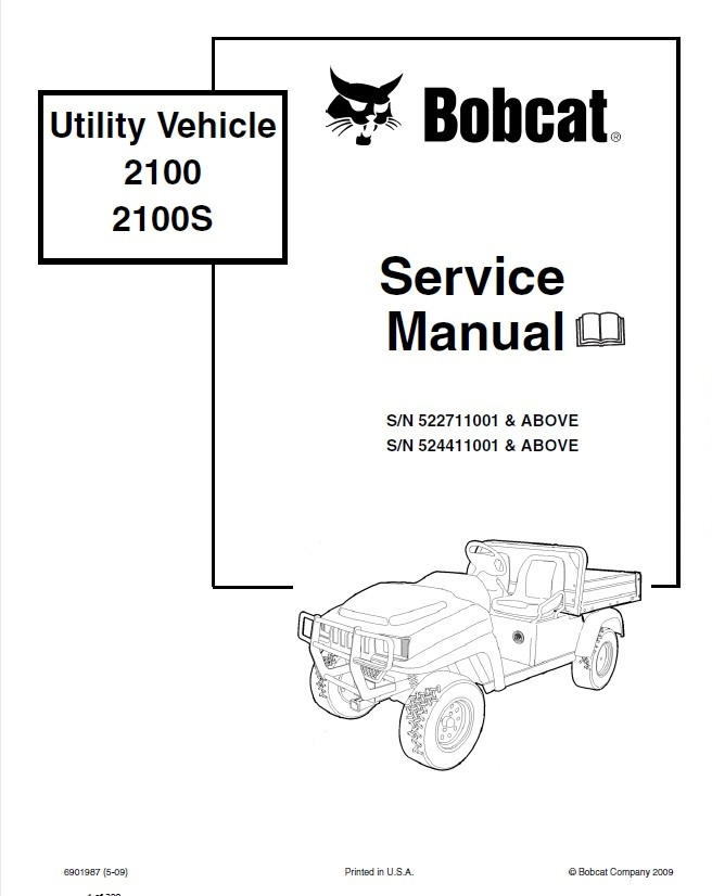 Bobcat 2100, 2100S Utility Vehicle Service Manual PDF