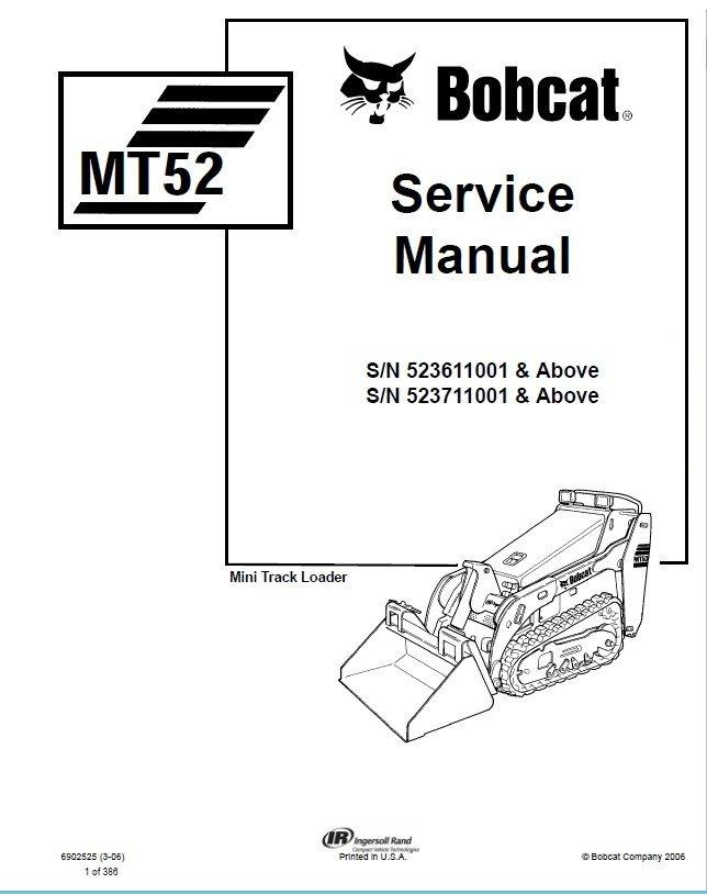 Bobcat MT52 Mini Track Loader Service Manual PDF