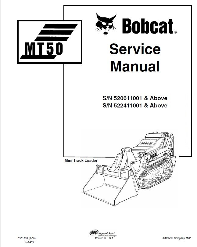 Bobcat MT50 Mini Track Loader Service Manual PDF