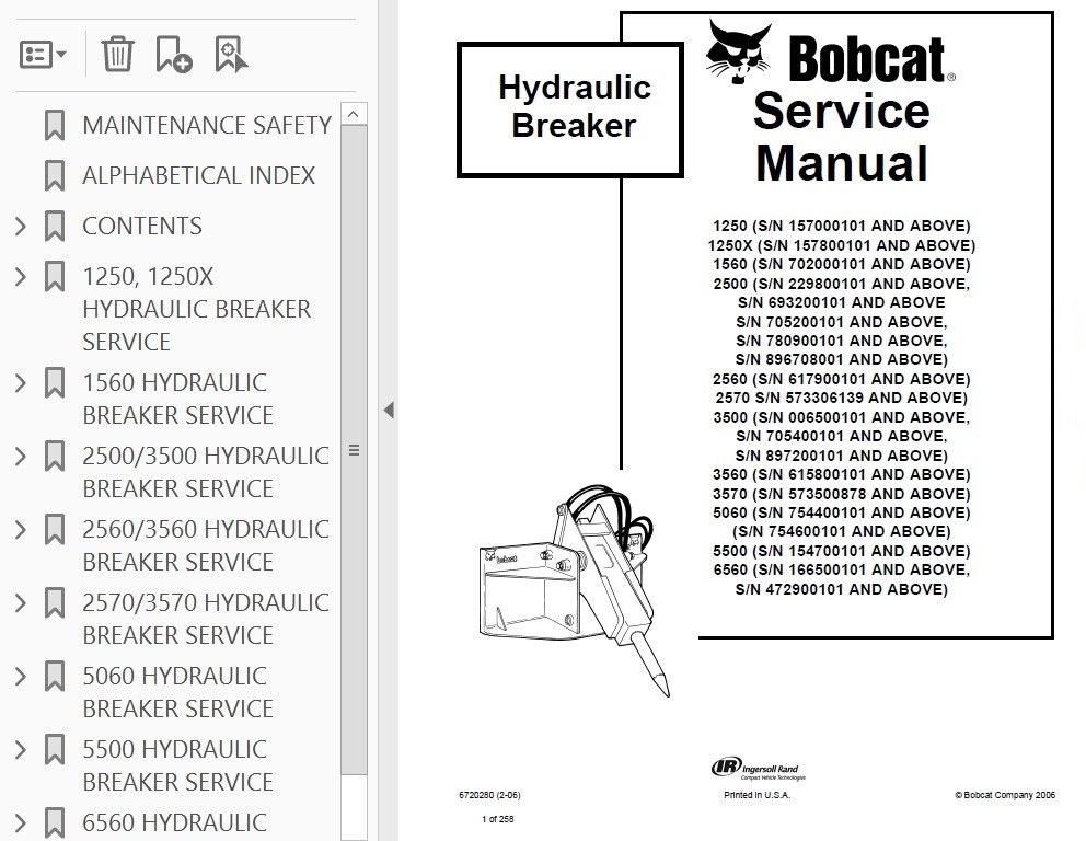 Bobcat Hydraulic Breakers Service Manual PDF