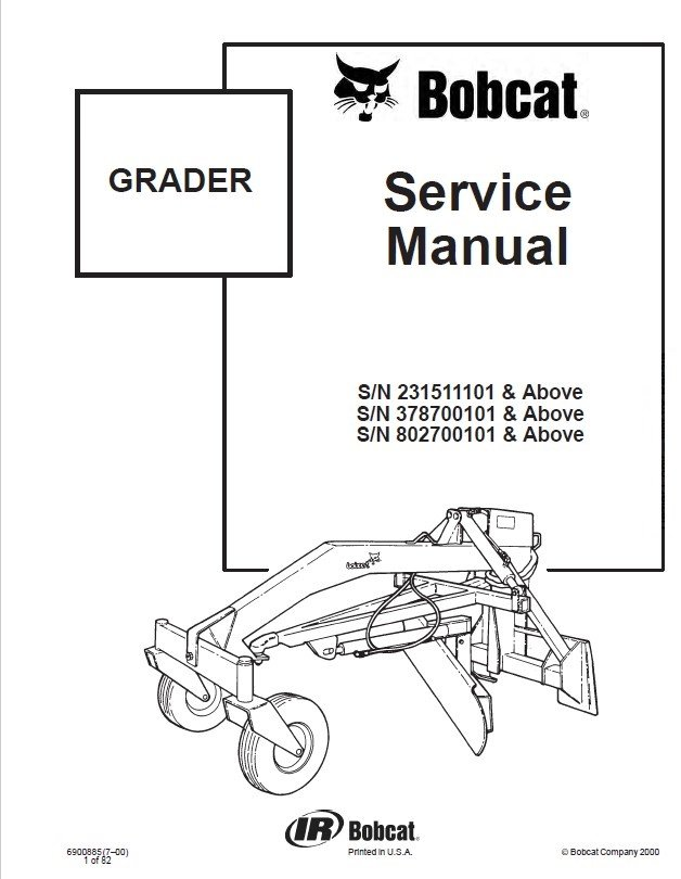 Bobcat Grader Service Manual PDF