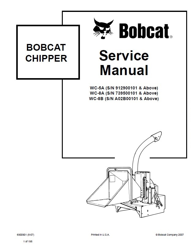 Bobcat WC-5A WC-8A WC-8B Chipper Service Manual PDF
