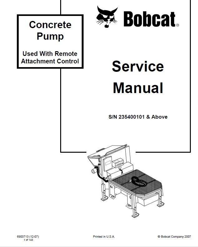 Bobcat Concrete Pump Service Manual PDF