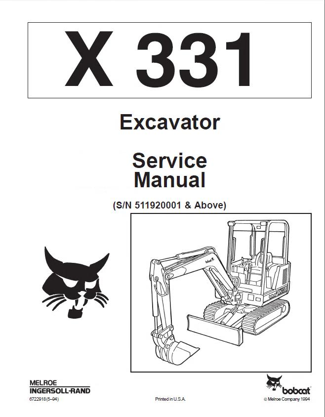 Bobcat X 331 Excavator Service Manual PDF