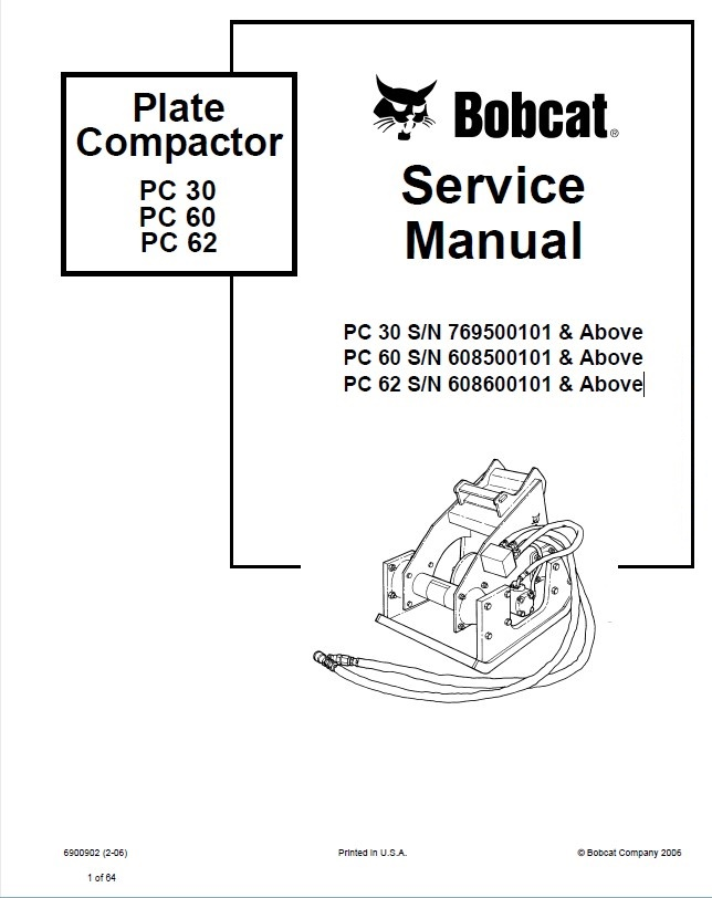 Bobcat PC30 PC60 PC62 Plate Compactor Service Manual