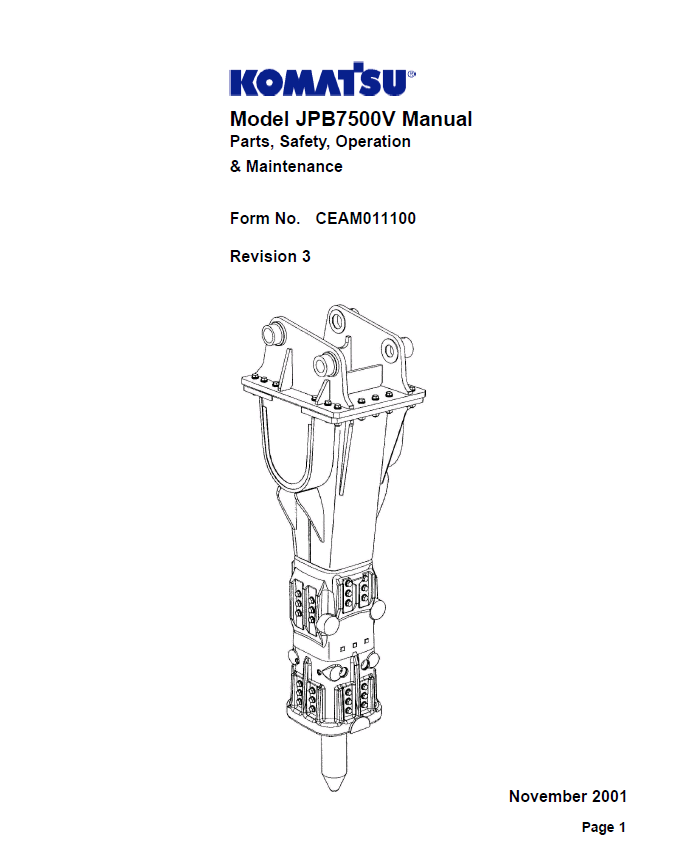 Komatsu JPB7500V Set of PDF Repair Manuals Download
