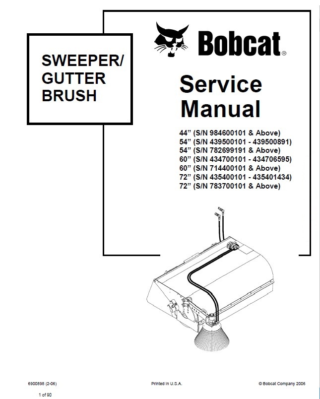 Bobcat 44 54 60 72 Sweeper Gutter Brush Service Manual PDF