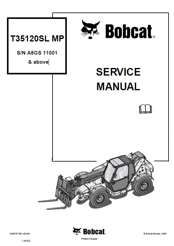 Bobcat T35120SL MP Telescopic Handler Service Manual PDF