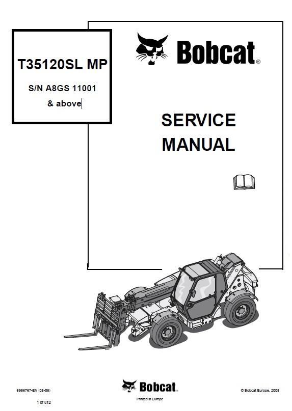 Bobcat T35120SL MP Telescopic Handler Service Manual PDF