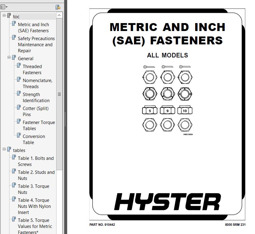 Hyster Class 5 F001 H30-35FT H40FTS Engine Trucks PDF