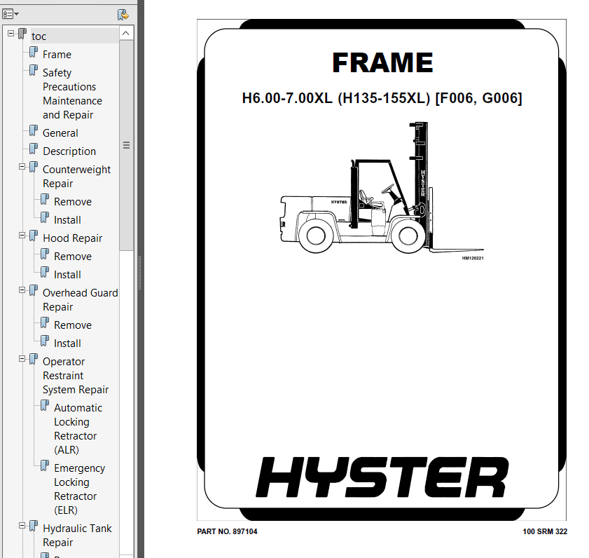Hyster Class 5 G006 H6.00-7.00XL Europe Engine Trucks PDF