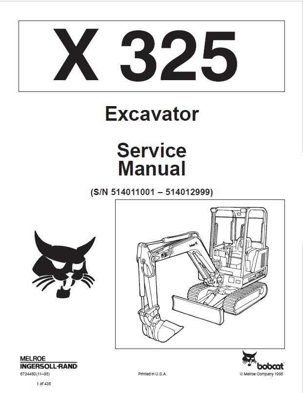 Bobcat X 325 Excavator Service Manual PDF