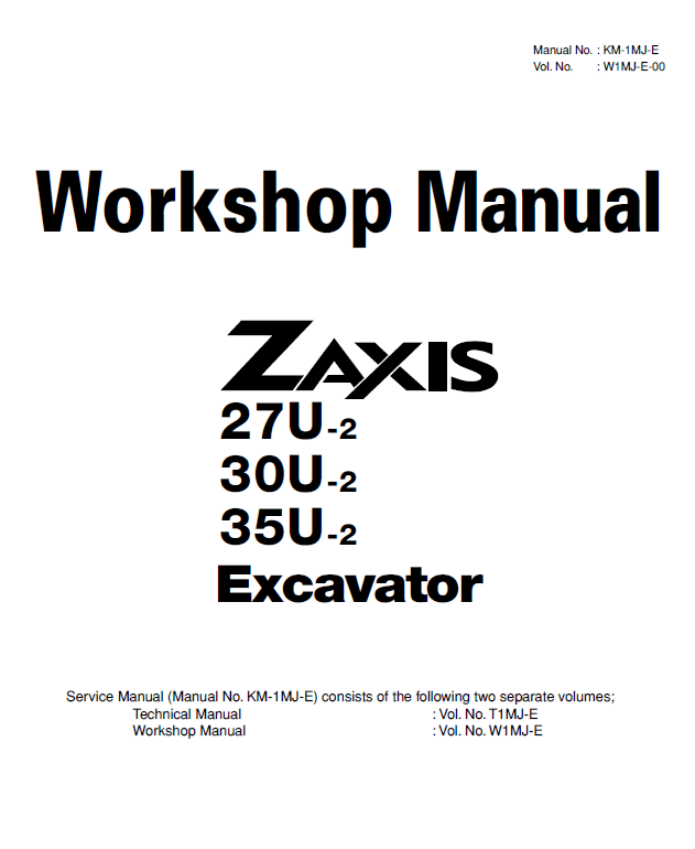 Hitachi Zaxis 27U/30U/35U-2 Excavator Shop Manual PDF Download