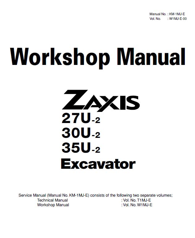 Hitachi Zaxis 27U/30U/35U-2 Excavator Shop Manual PDF Download