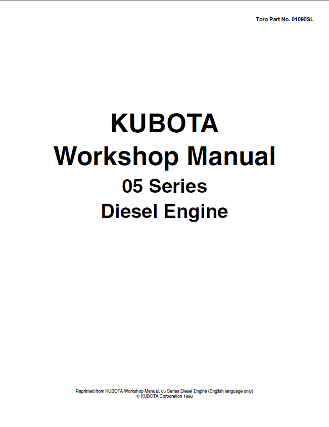 Kubota 05 Series Diesel Engine Workshop Manual PDF
